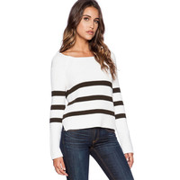 White And Black Stripe Knitted Sweater