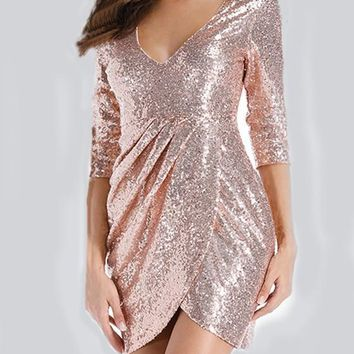 Pleated Sequin Slit 3/4 Sleeve High Waisted Homecoming Party Mini Dress