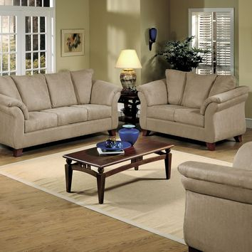 Serta 8100 Mocha Microfiber Sofa and Loveseat