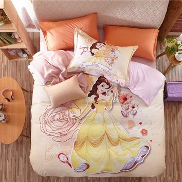 Beauty and the Beast Belle 3D Printed Bedding Sets for Girls Bedroom Decor Cotton Bedspreads Duvet Covers Twin Full Queen Size