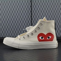 Converse High Tops Cdg Play Addict Fashion Canvas Flats Sneakers Sport Shoes Beige