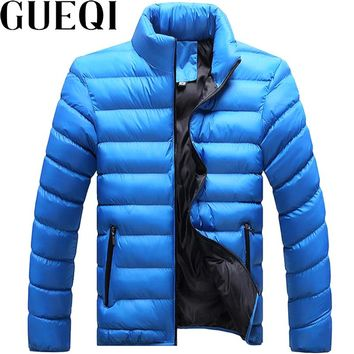 GUEQI Men Warm Parkas Plus Size M-4XL Patchwork Design Zipper Design Men Casual Winter Jackets Black Coats