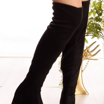 BLACK SUEDE MATERIAL SIDE ZIPPER ALMOND TOE OVER THE KNEE BOOTS