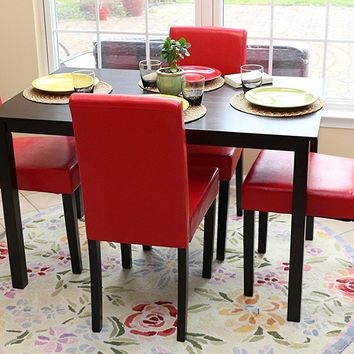 New Century® 5 Pieces Red Faux Leather 4 Person Dining Table With Chairs