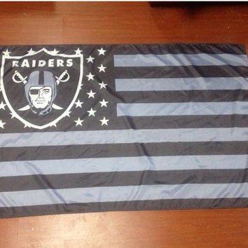 Our Oakland Raiders flag with stars and stripes 3 x 5 FT banners, flags 100D Polyester NFL 1150 Free Delivery
