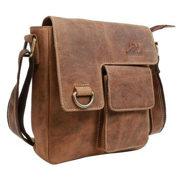 IN-INDIA Pure Leather Modern Styled Faded Brown Handy Messenger Bag -Fits Laptop