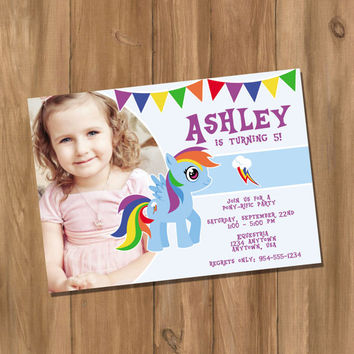 My Cute Pony My Little Pony Rainbow Dash Inspired Birthday Party Invitation with Photo (Digital - DIY)