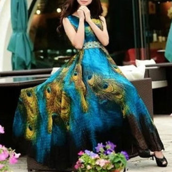 2015 Women Print Bohemian Summer Dress New Ankle-length Beach Peacock Chiffon Sleeveless Dresses = 1928787588