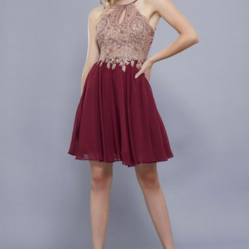 Fit and Flare Dress with Embellished Bodice