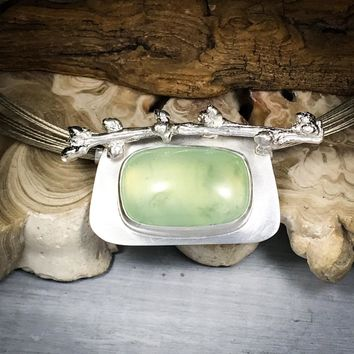 Prehnite and Peach Branch Sterling Silver Necklace