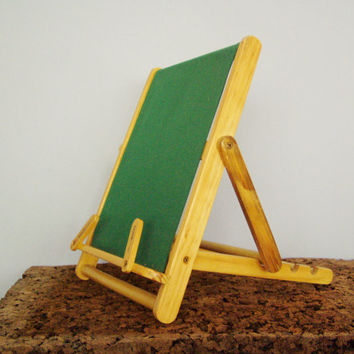 Wooden book rest, vintage, blond wood and green canvas book stand, adjustable wooden book display, armchair like book rest, early nineties