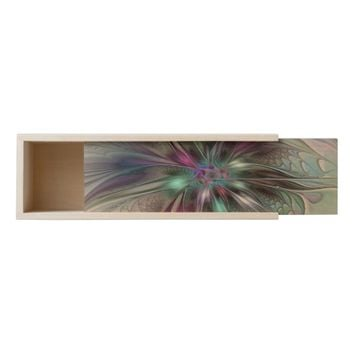 Colorful Fantasy Abstract Modern Fractal Flower Wooden Keepsake Box