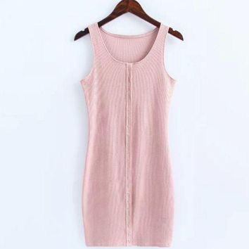 VXL8HQ Sexy show body knit cotton front button vest type sexy dress Pink