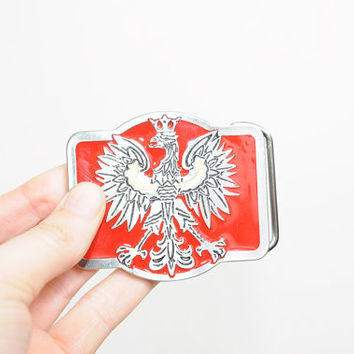 Vintage 70s/80s Red Eagle Like Bird Metal Belt Buckle