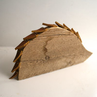 Hedgehog reclaimed wooden animal with leather spikes, brass nails, home or nursery decor.