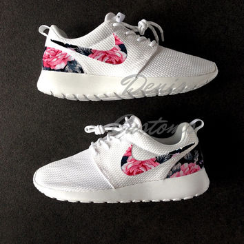 Nike Roshe Run One White Custom Pink from DenisCustoms on Etsy 0ce9f025a
