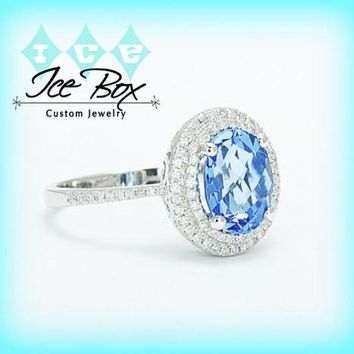Swiss Blue Topaz Engagement Ring 2.5ct Oval in a 14k White Gold Double Diamond Halo Setting