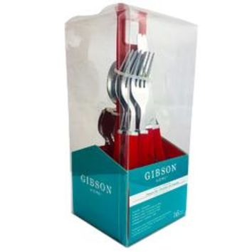 Gibson Altamara 16 pc Flatware Set W/Red Plastic Holder, Polished