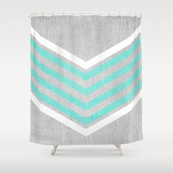 Teal and White Chevron on Silver Grey Wood Shower Curtain by Tangerine-Tane