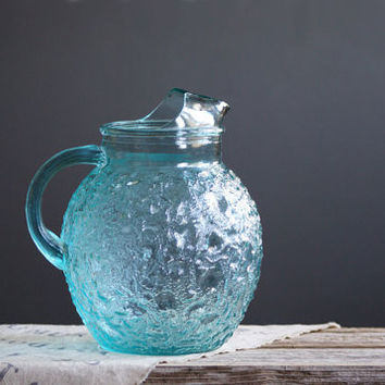 Anchor Hocking Lido Milano Pitcher with Ice Lip, Aquamarine Blue, Summer Decor, Warm Weather Entertaining, Kitchen Glass