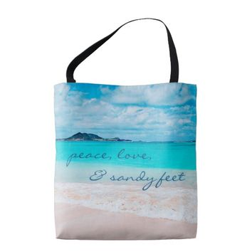 """Sandy feet"" quote turquoise beach photo tote bag"