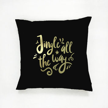 Jingle All The Way Pillow, Gold Pillow, Christmas Pillow, Home Decor, Cushion Cover, Throw Pillow, Bedroom Decor, Modern Pillow, Bed Pillow