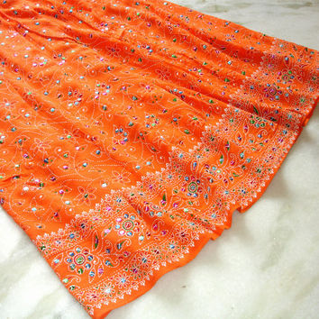 Maxi Skirt: Indian Skirt, Long Skirt,  Boho Bohemian Gypsy Sequin Peasant Skirt Tangerine Orange