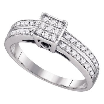 Sterling Silver Womens Round Diamond Square Cluster Bridal Wedding Engagement Ring 1/3 Cttw