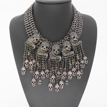2015 New Luxury Gun Metal Chunky Chain Skull Necklace Crystal Tassel Statement Necklaces Pendants Choker Bib Collar