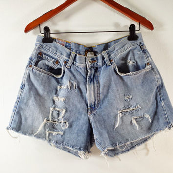 High Waisted Denim Shorts - Lucky Brand High Waist SHREDDED Jean Shorts - SIZE US 6 / 8
