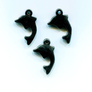 3 black dolphin stone pendants lot dolphin charms 19mm x 30mm silhouette hematite clay pendants gemstone charms fish sealife  #supplyp957