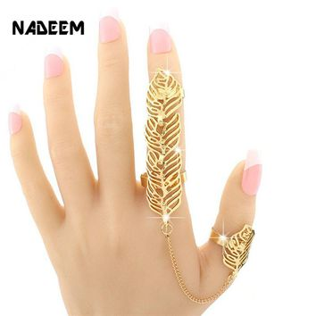 Rock Style Gold Color Rhinestone Leaf Double Full Finger Ring Chain Link Ring For Women Party Jewelry Fashion Accessories