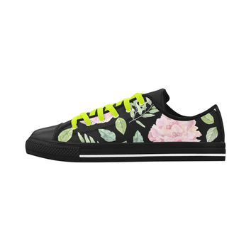 Floral Theme Black Aquila Action Leather Women's Shoes