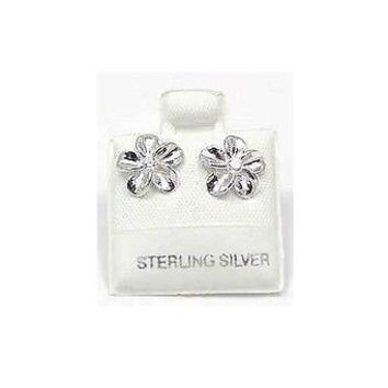SILVER 925 SHINY HAWAIIAN PLUMERIA EARRING CZ 10MM