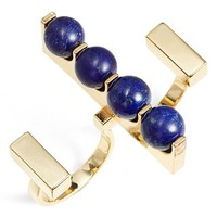 Women's URiBE Lapis Lazuli Open Two-Finger Ring - Gold