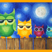 Childrens Wall Art PRINT,  Whimsical Owls On A Fence, 20x16, Art for Kids Rooms, Nursery Decor