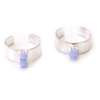 Pastel Silver Candy Jewel Rings
