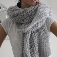 Light Grey ,Soft and Warm  Wool Scarf