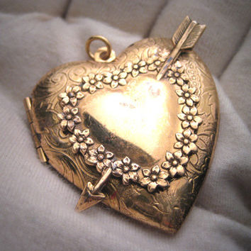 Antique Puffy Heart Locket Vintage Victorian Art Deco
