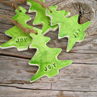 Joy gift tags, Christmas tree clay tags, holiday hang tags, hostess gift tags, Christmas decor, embossed, rustic holiday gift wrap, set of 4
