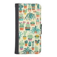 Cactus Flower Pattern iPhone 5 Wallet Cases