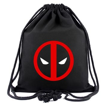 Animation Hero Deadpool Drawstring Bags for Men Women Canvas Backpack Organizer Pouch Fashion Casual Drawstring Backpacks Gifts