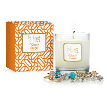 Bling Tuscan Orange Candle with Hidden Jewels