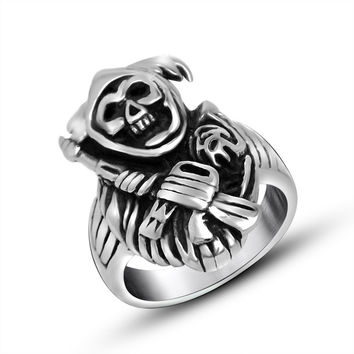 Shiny New Arrival Gift Jewelry Stylish Men Strong Character Punk Titanium A4 Size Ring [6526793091]