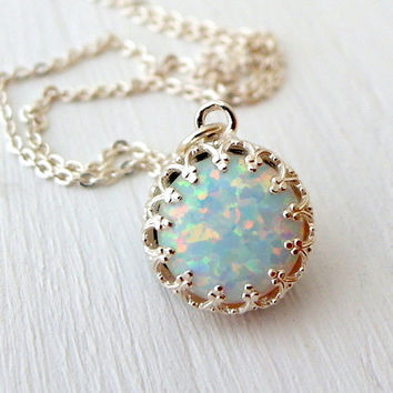 Opal necklace,White opal necklace,October birthstone necklace,Sterling silver necklace,Bridesmaid gift,Pendant necklace,Opal necklace silver