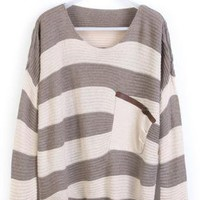 Coffee Stripe Bat Long Sleeve Sweater