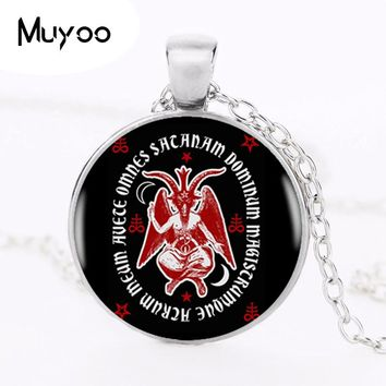 2017 Latin Hail Satan Occult Baphomet Poster Pendant Choker Statement Silver Necklace For Women Dress Accessories Glass Jewelry