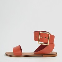 ASOS DESIGN Farah Leather Flat Sandals at asos.com