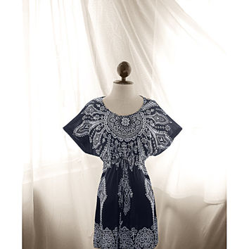 Great Gatsby Robe Tribal Navy Blue White Paisley Kaftan Kimono Freedom Frolic Dress Bohemian Moroccan Butterfly Wings Caftan Long Tunic Top