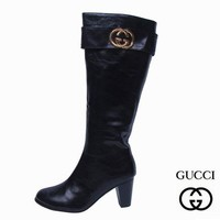 GUCCI Fashion Leather High Boot Heels Shoes